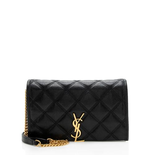 Saint Laurent Diamond Quilted Leather Becky Chain Wallet