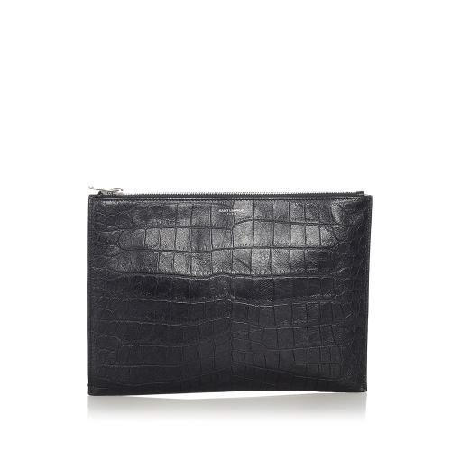 Saint Laurent Embossed Leather Clutch Bag