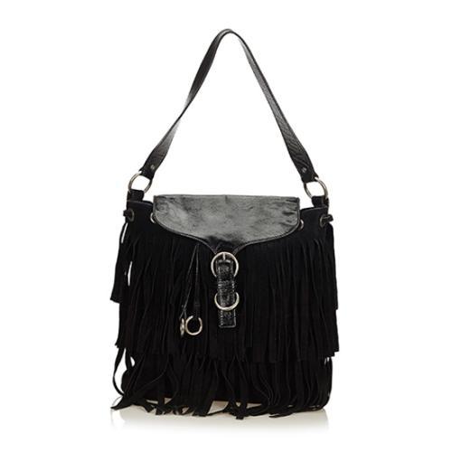 Saint Laurent Fringe Suede Leather Shoulder Bag