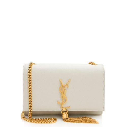 Saint Laurent Grain de Poudre Leather Monogram Kate Tassel Small Shoulder Bag