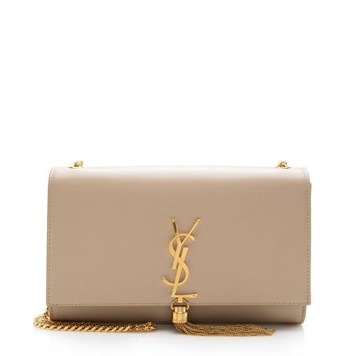 Saint Laurent Grain de Poudre Leather Monogram Kate Tassel Medium Shoulder Bag