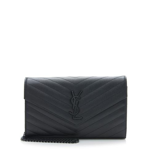 Saint Laurent Matelasse Grain de Poudre Matte Black Monogram Chain Wallet
