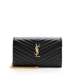 Saint Laurent Matelasse Grain de Poudre Monogram Chain Wallet