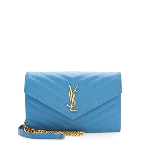 Saint Laurent Grain de Poudre Matelasse Monogram Envelope Chain Wallet