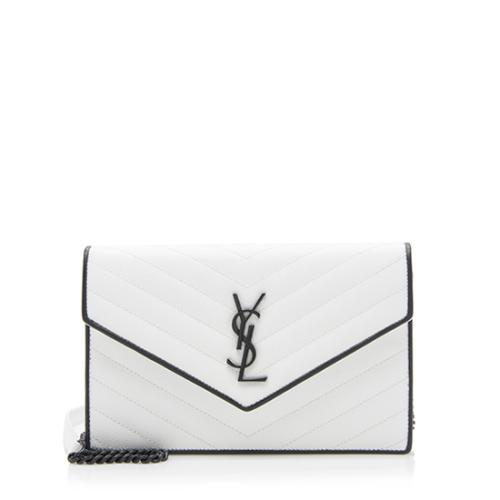 Saint Laurent Grain de Poudre Matelasse Monogram Envelope Chain Wallet