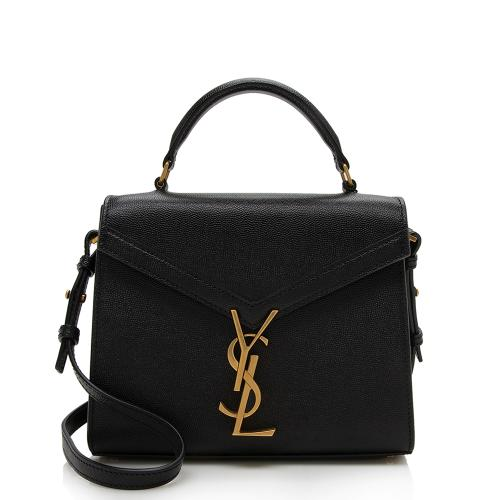 Saint Laurent Grain de Poudre Mini Classic Monogram Cassandra Top Handle Bag