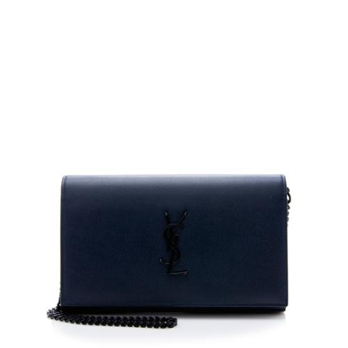 Saint Laurent Grain de Poudre Monogram Chain Wallet