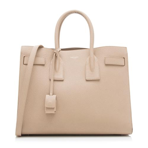 Saint Laurent Grained Leather Small Sac De Jour Tote