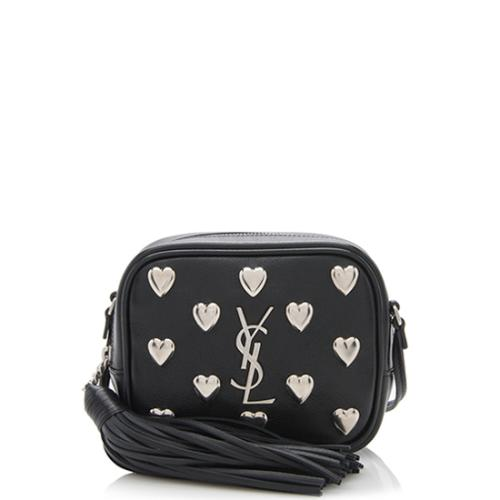Saint Laurent Heart Studded Leather Blogger Bag