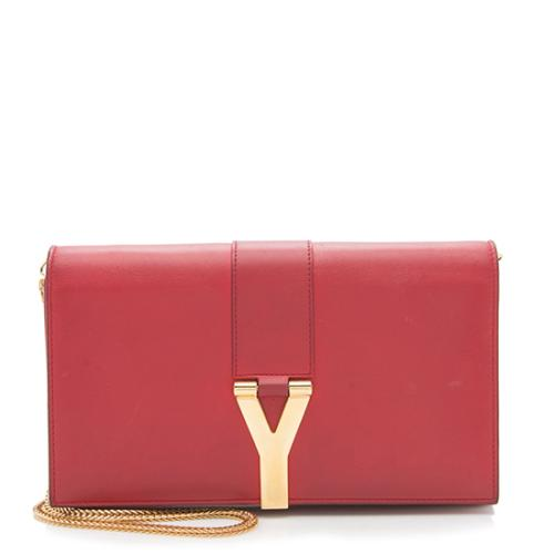 Saint Laurent Leather Classic Y Wallet on Chain Bag