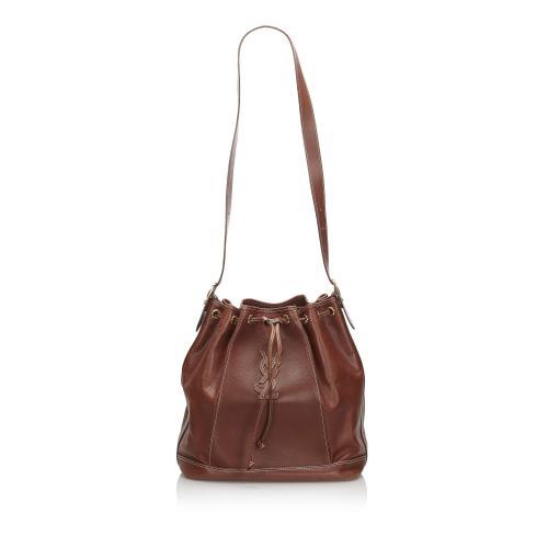Saint Laurent Leather Drawstring Bucket Bag