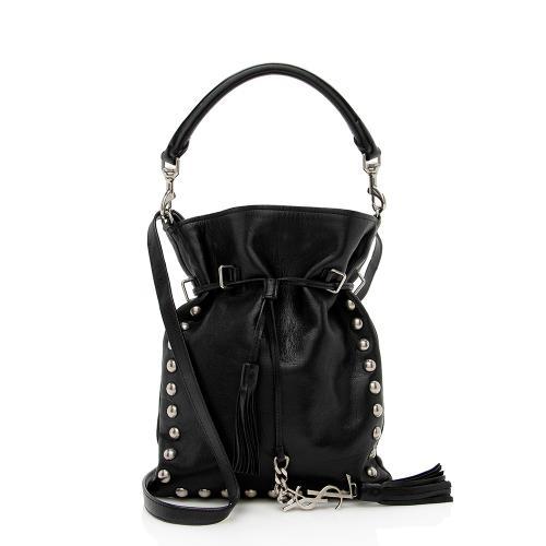 Saint Laurent Leather Monogram Studded Bucket Bag