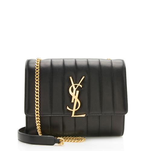 Saint Laurent Matalasse Calfskin Vicky Chain Wallet