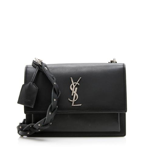 Saint Laurent Leather Sunset Braided Shoulder Bag