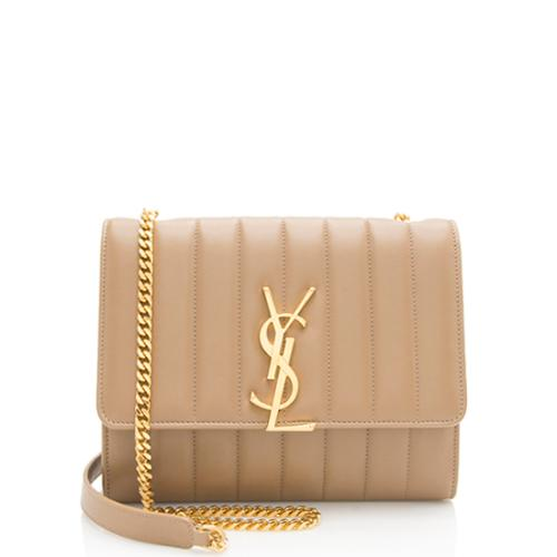 Saint Laurent Leather Vicky Chain Wallet