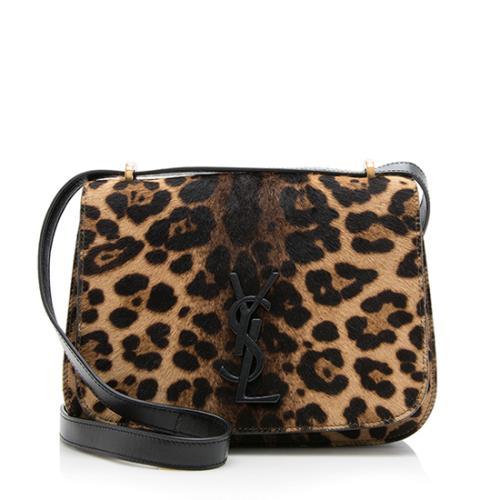 Saint Laurent Leopard Calf Hair Spontini Small Saddle Bag