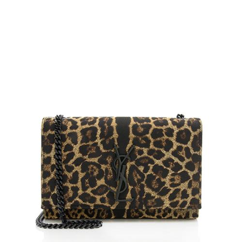 Saint Laurent Leopard Print Lurex Small Monogram Kate Shoulder Bag