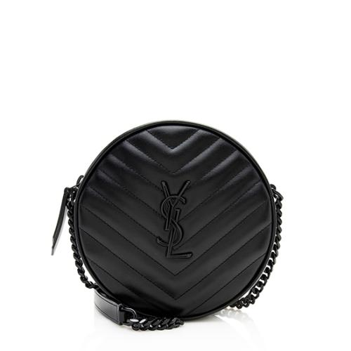 Saint Laurent Matelasse Calfskin Jade Round Crossbody Bag
