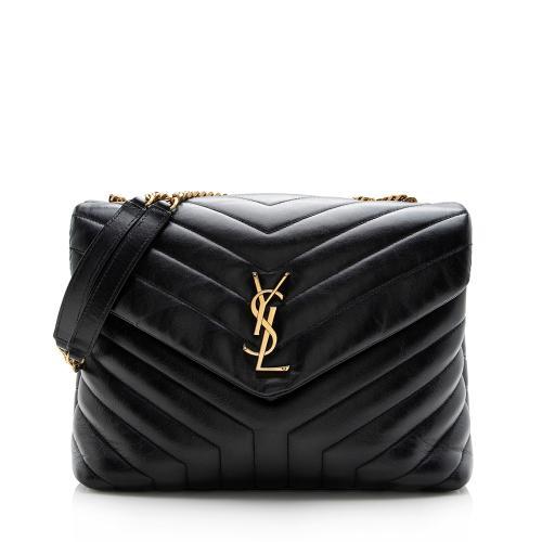 Saint Laurent Matelasse Calfskin Monogram LouLou Chain Medium Shoulder Bag