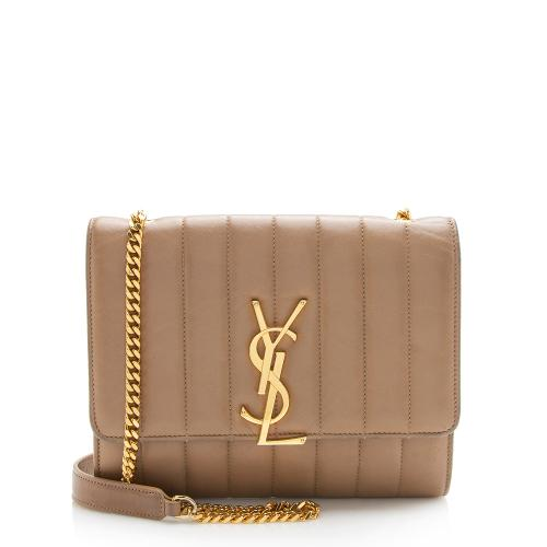 Saint Laurent Matelasse Calfskin Vicky Chain Wallet