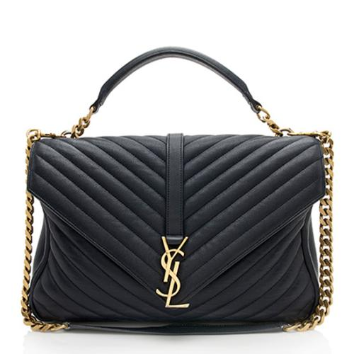 Saint Laurent Matelasse Classic Large Monogram College Shoulder Bag