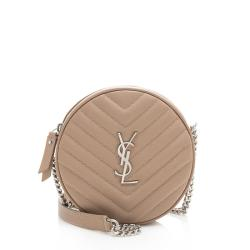 Saint Laurent Matelasse Grain de Poudre Jade Round Crossbody Bag
