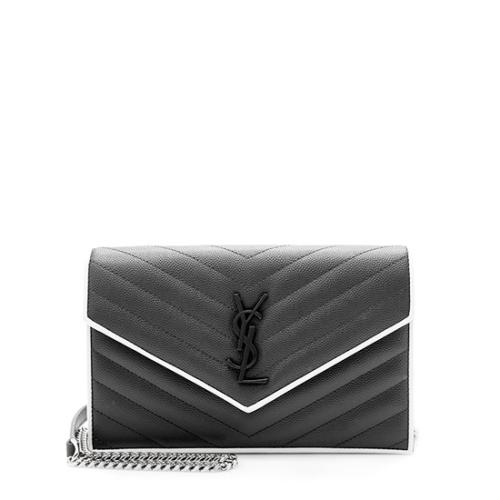 Saint Laurent Matelasse Grain de Poudre Monogram Envelope Chain Wallet