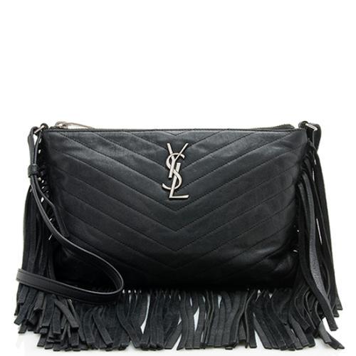 Saint Laurent Matelasse Leather Monogram Fringe Shoulder Bag