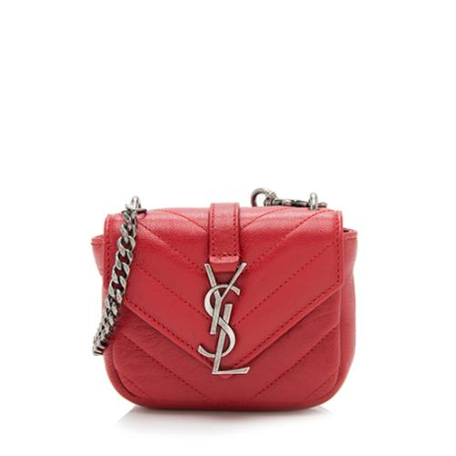 Saint Laurent Matelasse Leather Monogram Mini College Bag