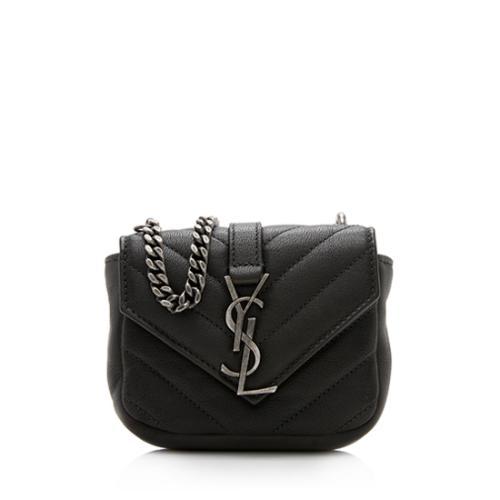 Saint Laurent Matelasse Leather Monogram Mini College Bag