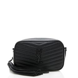Saint Laurent Matelasse Grain de Poudre Matte Black Lou Mini Camera Bag