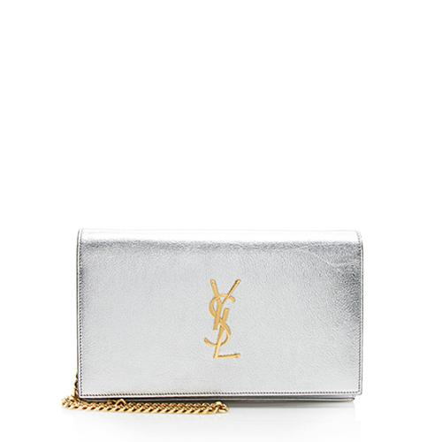 Saint Laurent Metallic Calfskin Monogram Wallet On Chain
