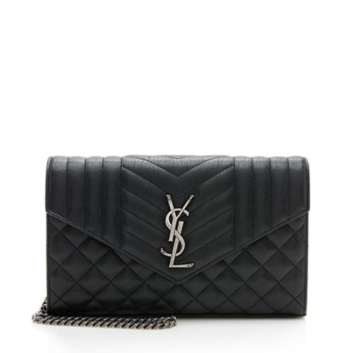 Saint Laurent Mixed Matelasse Leather Classic Monogram Chain Wallet