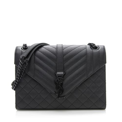 Saint Laurent Mixed Matelasse Leather Matte Black Classic Monogram Medium Should