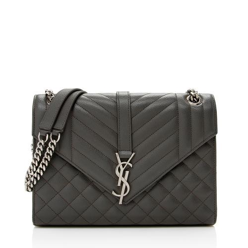 Saint Laurent Mixed Matelasse Leather Triquilt Monogram Medium Shoulder Bag - FI