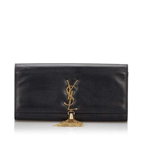 Saint Laurent Smooth Leather Monogram Kate Tassel Clutch