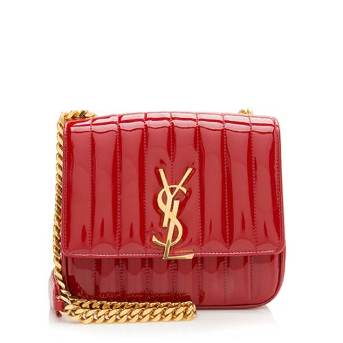 Saint Laurent Patent Leather Vicky Medium Shoulder Bag