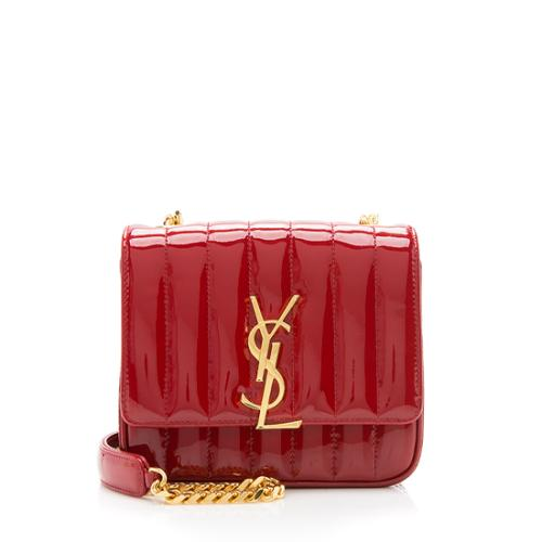 Saint Laurent Patent Leather Vicky Small Shoulder Bag