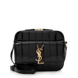 Saint Laurent Patent Matelasse Lambskin Vicky Camera Bag