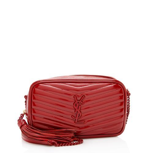 Saint Laurent Patent Matelasse Leather Lou Mini Camera Bag