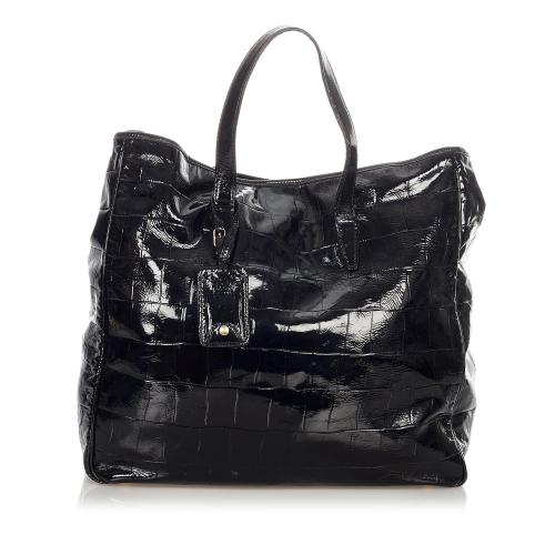 Saint Laurent Quilted Patent Leather Tote Bag