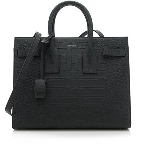 Saint Laurent Suede Croc Embossed Small Sac De Jour Tote