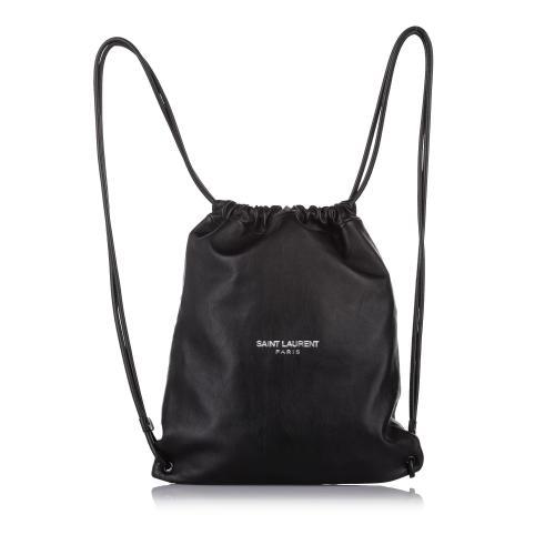 Saint Laurent Teddy Drawstring Leather Backpack