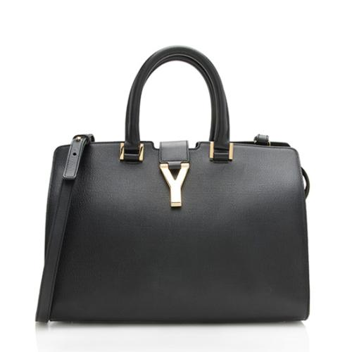 Saint Laurent Textured Calfskin Classic Small Cabas Y Tote
