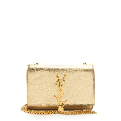 Saint Laurent Textured Metallic Leather Monogram Tassel Small Shoulder Bag