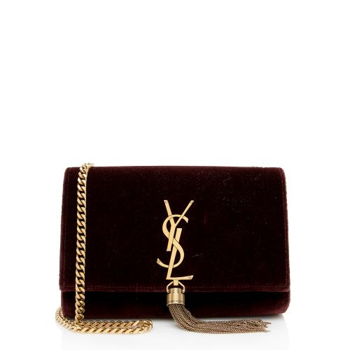 Saint Laurent Velvet Monogram Kate Tassel Clutch Shoulder Bag