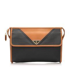 Saint Laurent Weaved Canvas Clutch Bag