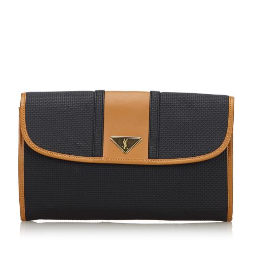 Saint Laurent Woven Flap Clutch Bag