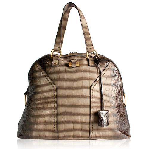 Yves Saint Laurent Croc Embossed Degrade Muse Handbag