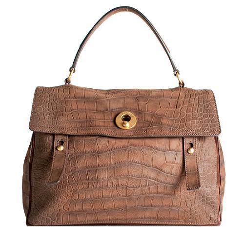 Yves Saint Laurent Embossed Nubuck Muse Two Satchel Handbag
